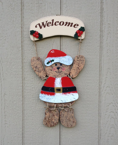 Welcome Bear Sign with Santa Claus outfit - Simply Said Signs