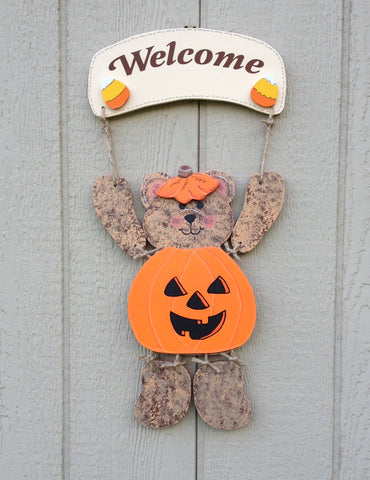 Welcome Bear Sign with Halloween Pumpkin outfit - Simply Said Signs