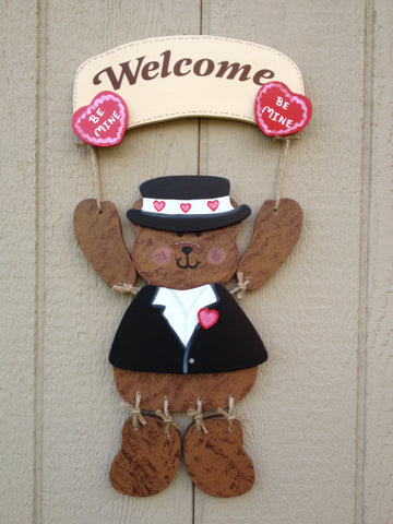 Welcome Bear Sign with Valentine's Day outfit - Simply Said Signs
