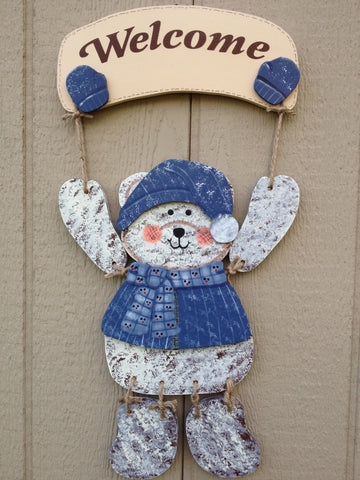 Welcome Bear Sign with Snowsuit winter outfit - Simply Said Signs