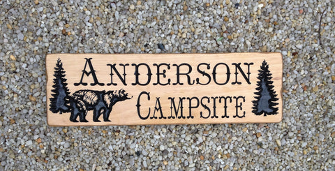 Carved Wood Campsite Sign with Bear - Simply Said Signs