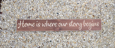 Home Is Where Our Story Begins Carved Wood Sign Style 1