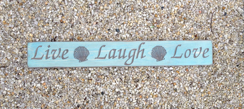 Live Laugh Love Shells Carved Wood Sign - Simply Said Signs