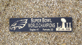 "Philadelphia Eagles Super Bowl Champions Carved Wood Sign 24"" Black - Simply Said Signs"