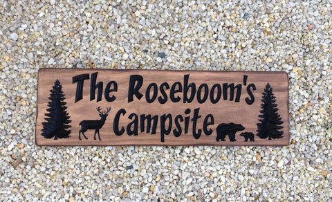 Carved Wood Campsite Sign - Simply Said Signs