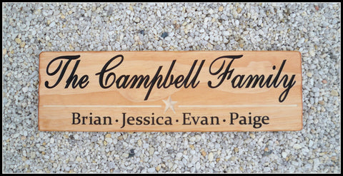 Carved Family Name Sign ~ Personalized Wood Name Signs - Simply Said Signs