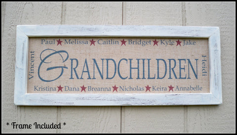 Personalized Grandmother Gift, Personalized Grandchildren Sign, Personalized Name Sign, Grandma Sign, Grandma Gift, name sign, burlap print - Simply Said Signs