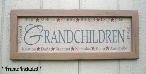 Grandchildren Sign ~ Grandma Gift ~ Framed Burlap Print - Simply Said Signs
