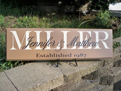 Personalized Last Name Sign ~ Design A - Simply Said Signs
