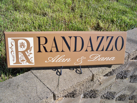 Personalized Monogram Sign ~ Design D - Simply Said Signs