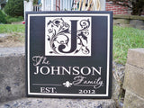 Monogram Sign with Family Name - JOHNSON style - Simply Said Signs