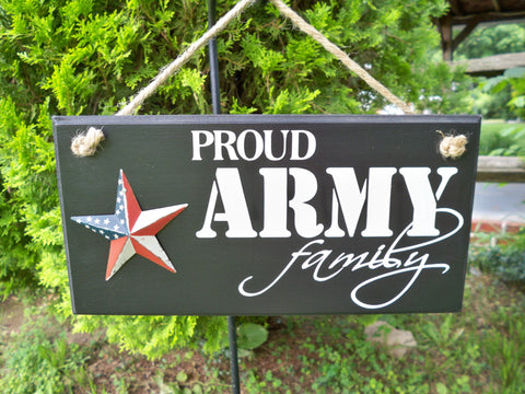 Army Family Sign with American Flag Star - Simply Said Signs