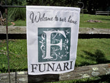 Monogram flags ~ garden flags ~ personalized family name ~ monogram garden flag - Simply Said Signs