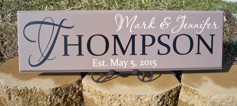 Family Name Sign ~ Last Name Sign ~ Personalized Sign ~ Wedding Sign ~ Thompson Design - Simply Said Signs