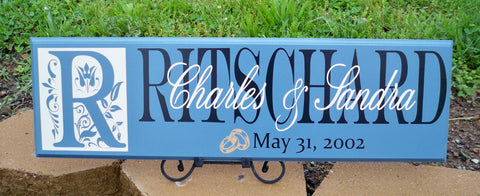 Wedding Band Sign ~ Wedding Sign ~ Bridal Shower Sign ~ Monogram Sign ~ Ritschard Design - Simply Said Signs