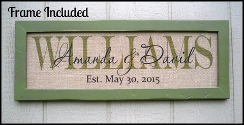Burlap print with frame ~ Burlap wedding signs - Simply Said Signs