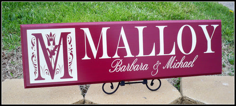 Family sign ~ last name sign ~ monogram sign ~ personalized name sign ~ Malloy Design - Simply Said Signs