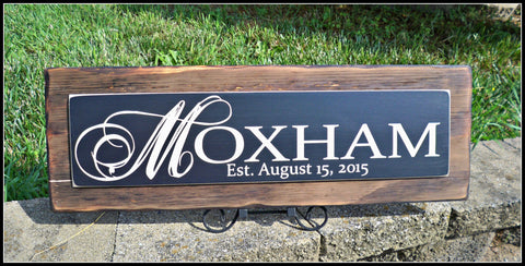 Last Name Sign, Personalized Family Name Sign, Rustic Sign, rustic wedding decor, name sign, wood sign, burnt wood sign, rustic home decor - Simply Said Signs