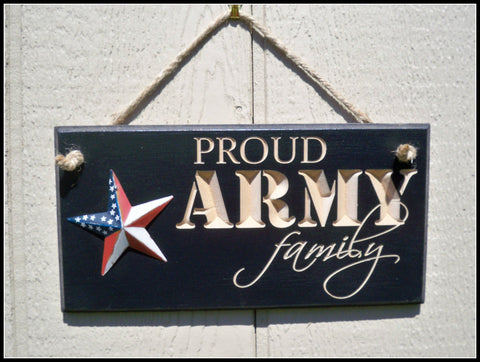 Carved Army Sign