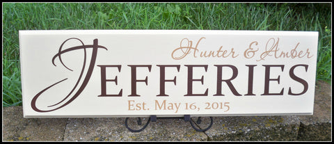 Last Name Sign ~ Family Name Sign ~ Personalized Signs ~ Established Sign ~ Jefferies Design - Simply Said Signs