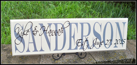 Wedding Sign ~ Last Name Sign ~ Established Sign ~Family Name Sign ~ Sanderson Design - Simply Said Signs