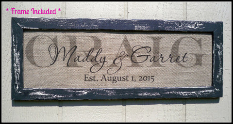 Last name sign, burlap wedding signs, burlap print, family name sign, family name plaque, framed wedding sign, personalized sign, name sign - Simply Said Signs
