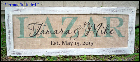 Last name sign, family name sign, burlap wedding signs, burlap print, family name plaque, framed wedding sign, personalized sign, name sign - Simply Said Signs