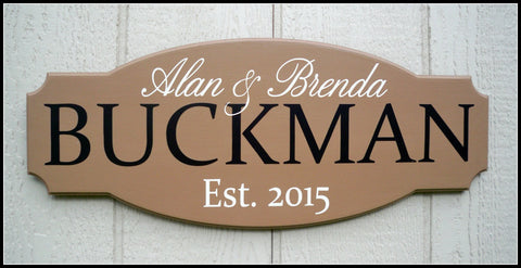 Shaped Personalized Last name sign ~ Design A - Simply Said Signs