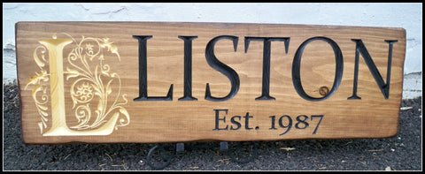 Personalized Carved Wood Sign ~ Monogram Last Name Sign ~ Liston Design - Simply Said Signs