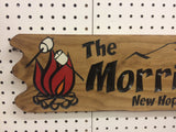Camping sign with scalloped edge and campfire - Simply Said Signs