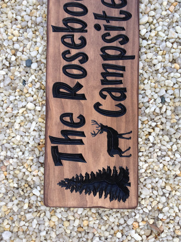 Carved Wood Campsite Sign Simply Said Signs