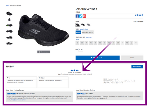 product page best practices - customer reviews and testimonials