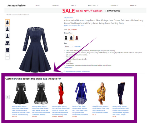 product page best practice - display recommended items