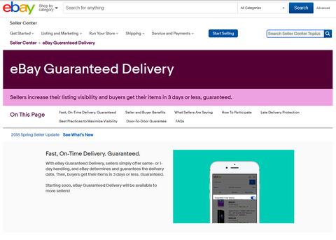 eBay expanding guaranteed delivery program