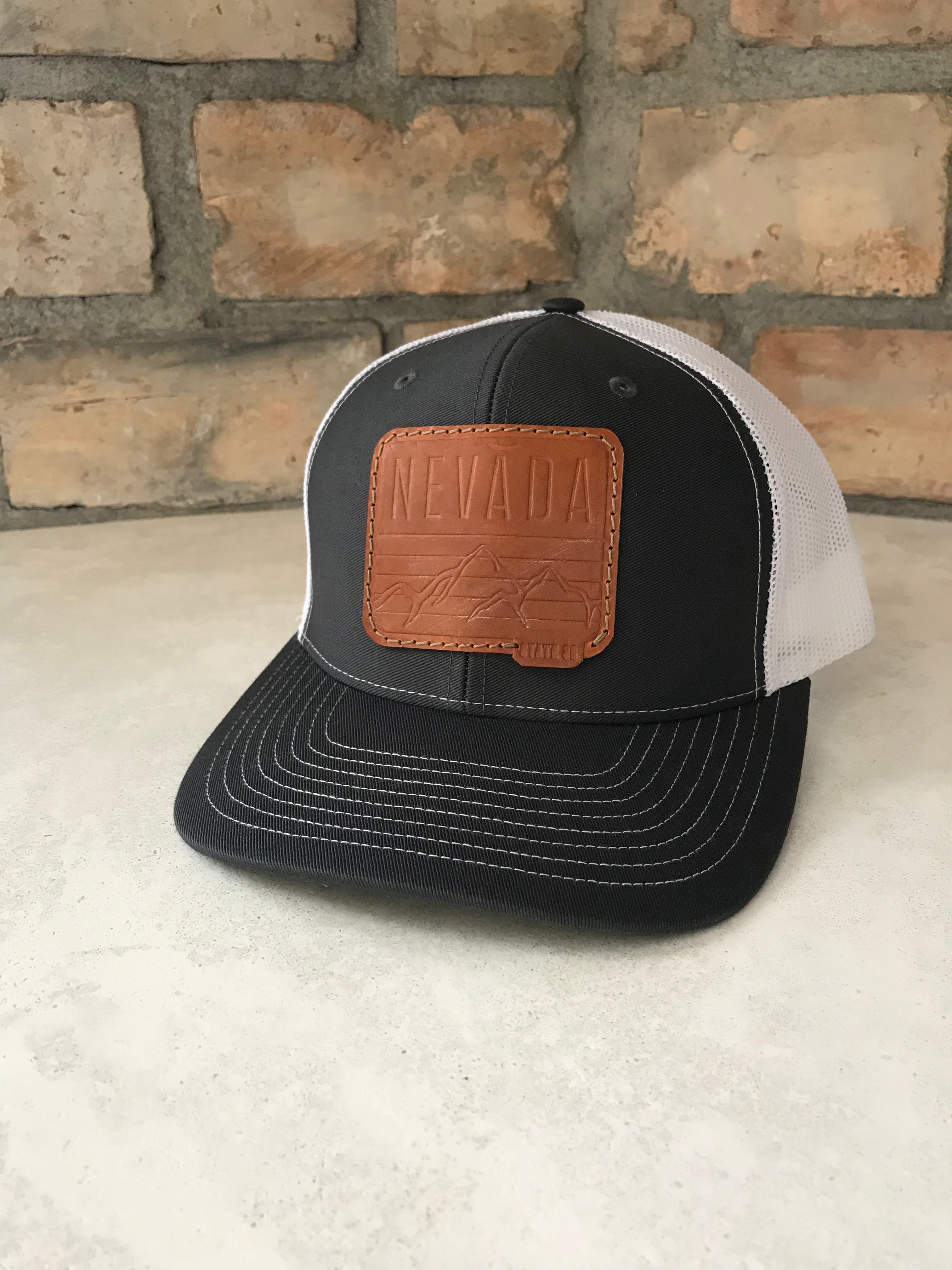 266968e67d5 Dark Grey White Trucker Cap - Mountain Leather Patch - State 36 Clothing Co.