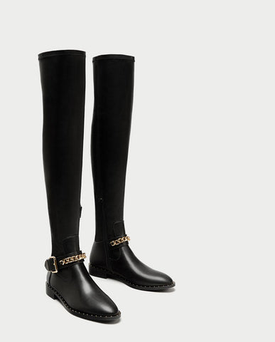 Black Zara Above Knee Boots