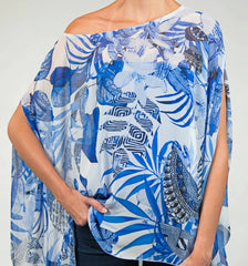 white and blue sheer poncho