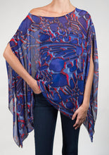 blue and purple poncho top