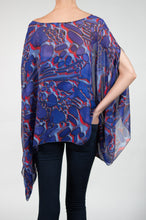 purple and blue sheer poncho