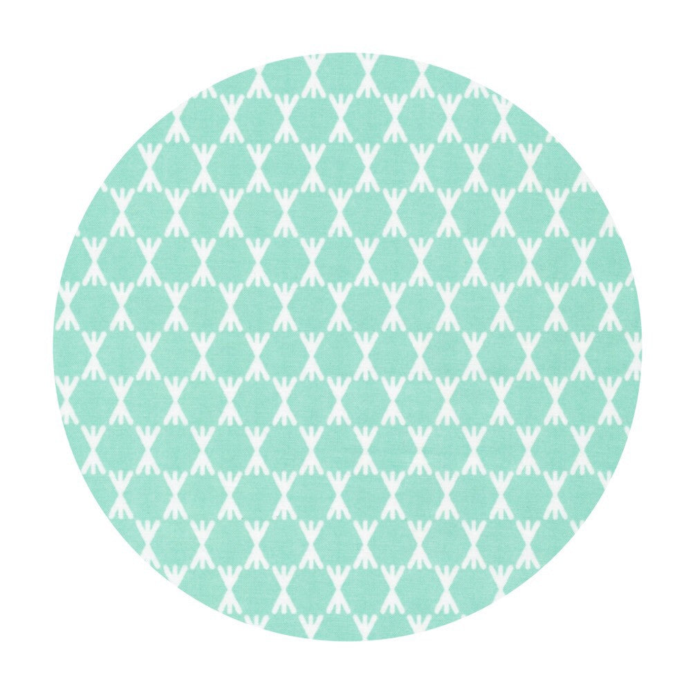 Organic Fabric - Fabric Online Canada - Cloud9 Organic Fabric - Foxgloves - Stem Dot Turquoise