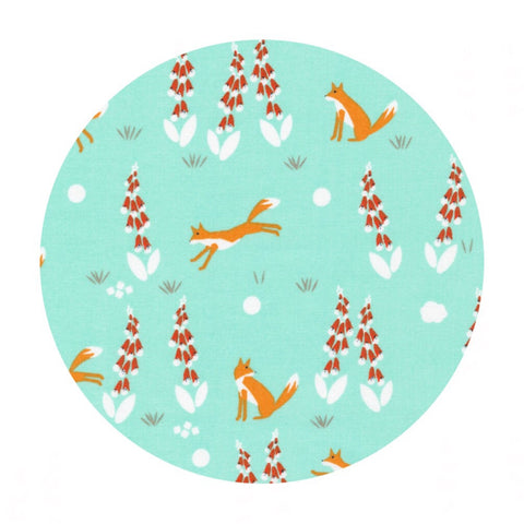 Organic Fabric - Fabric Online Canada - Cloud9 Organic Fabric - Foxgloves - Fox in the Foxgloves Turquoise