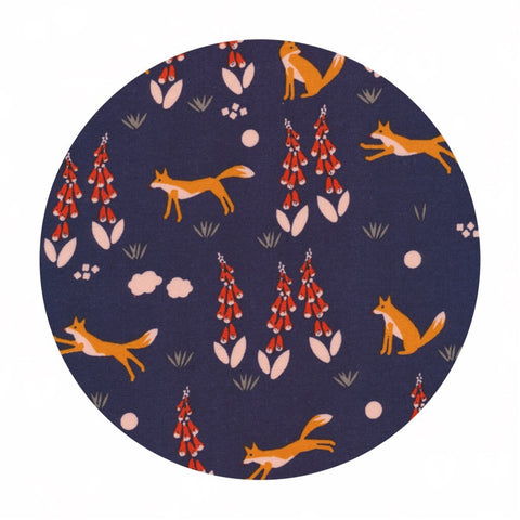 Organic Fabric - Fabric Online Canada - Cloud9 Organic Fabric - Foxgloves - Fox in the Foxgloves Navy