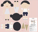 Doll Main Pink - Rosie & Rowan - Doll Fabric Cottons - Riley Blake Designs - Each Panel Makes 2 Dolls!