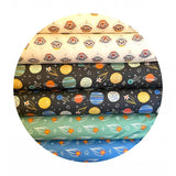 Planets in Yellow & Blue - Space Monkey Collection - Paintbrush Studio Fabrics