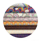 Rainbow Elephants on Ochre - Rainbows Collection - Lewis & Irene Fabrics
