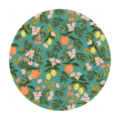 Citrus Floral in Teal Cotton - Primavera by Rifle Paper Co. - Cotton + Steel Fabrics