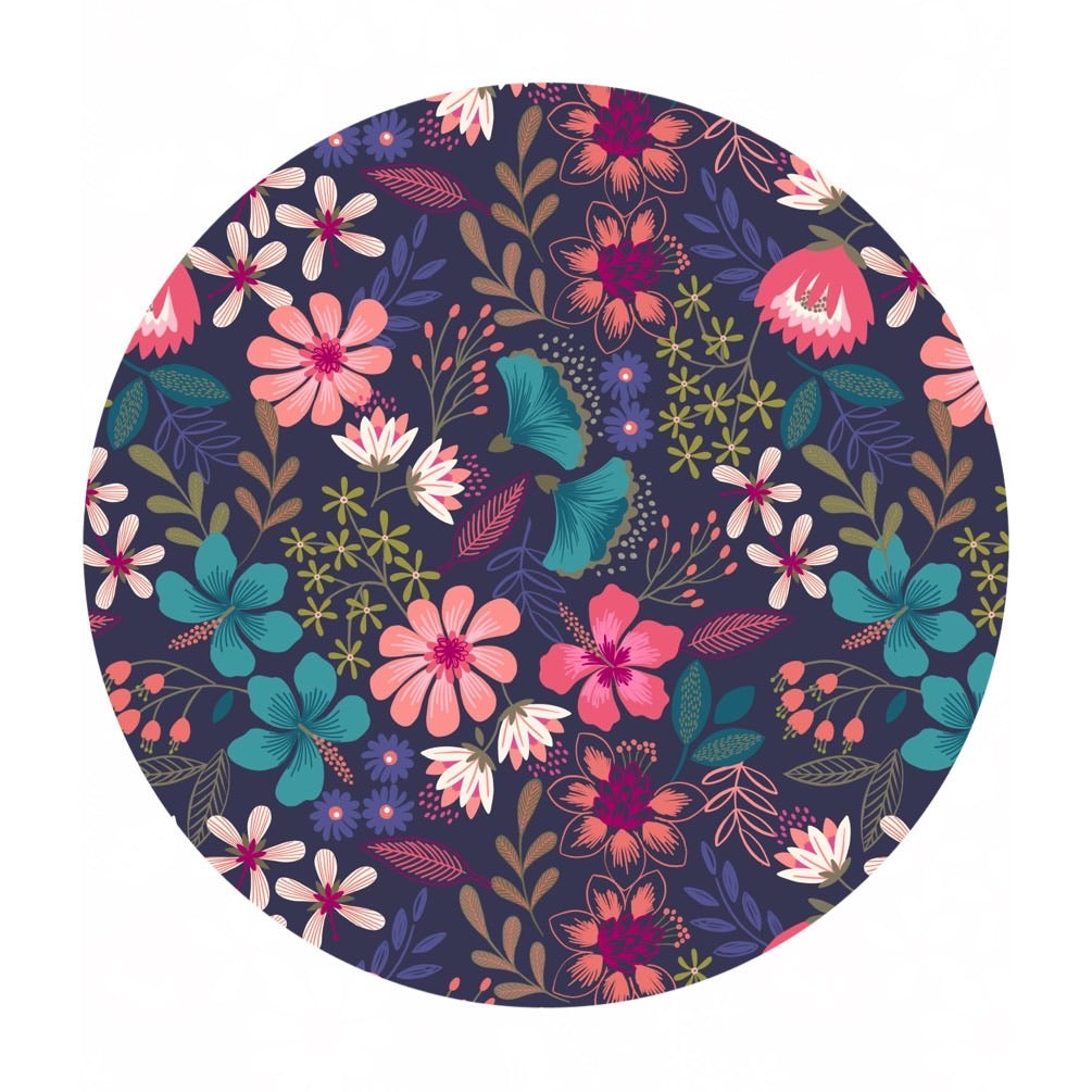 .5 meters left! - Summer Floral on Dark Blue - Hummingbird Collection - Lewis & Irene Fabrics