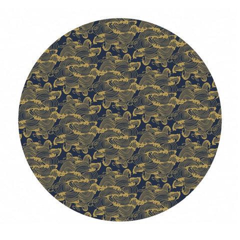 Waves in Navy Gold Metallic - Mystic Cranes Collection - Camelot Fabrics