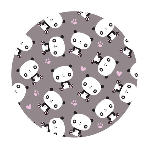 Panda & Hearts Flannel in Gray - Camelot Fabrics