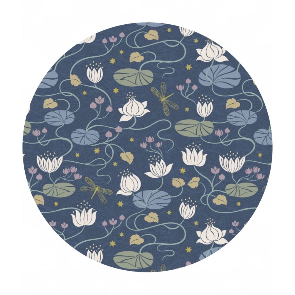 Lilies on Dark Blue with Gold Metallic - Jardin de Lis Collection - Lewis & Irene Fabrics